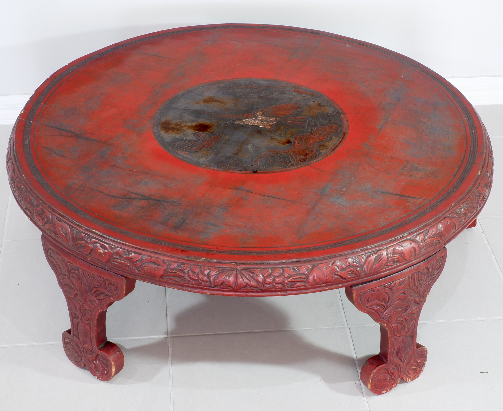 'Antique Korean Carved Wood and Lacquer Decorated Low Table'