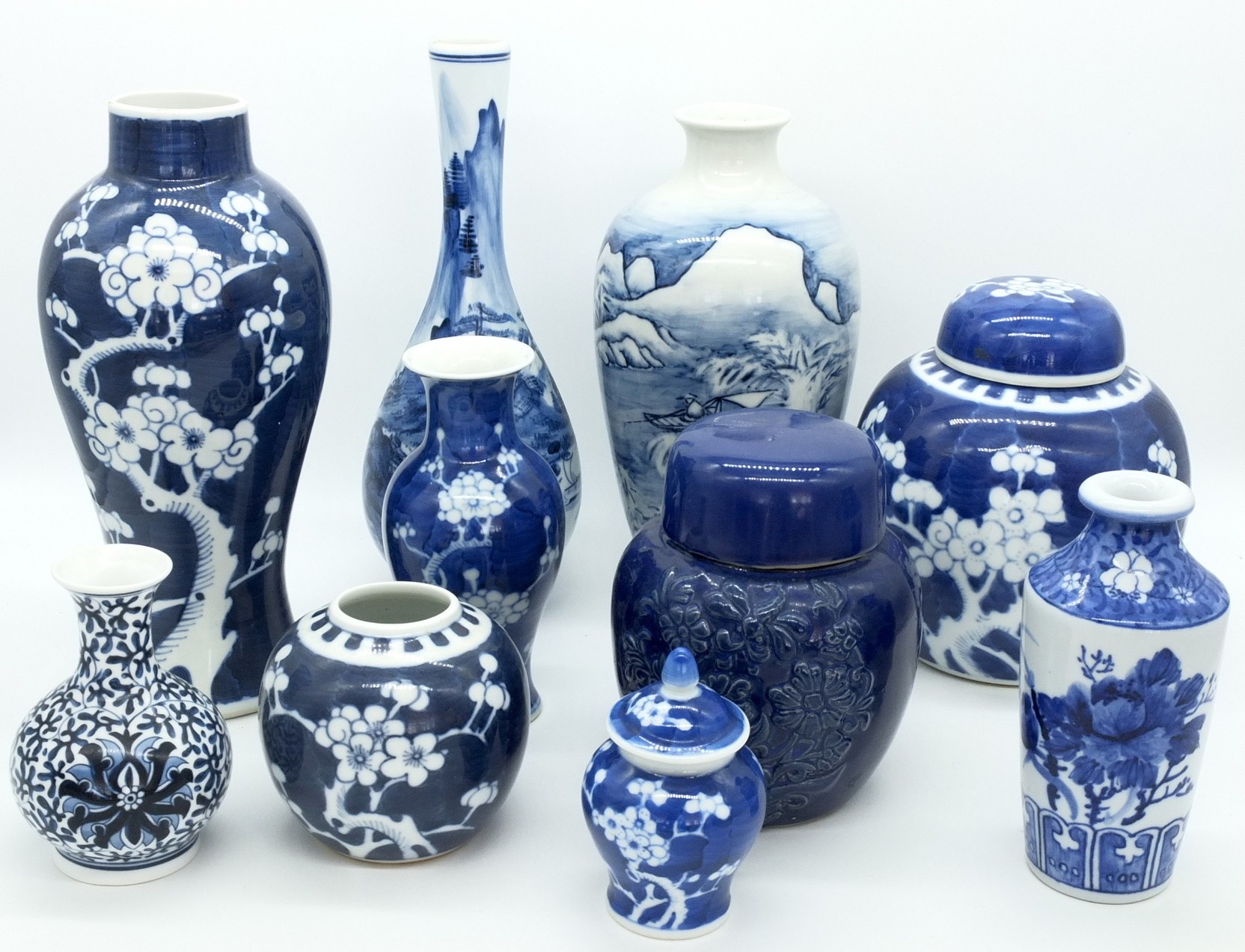 'Group of Oriental Blue and White Porcelain Gingers Jars and Vases'