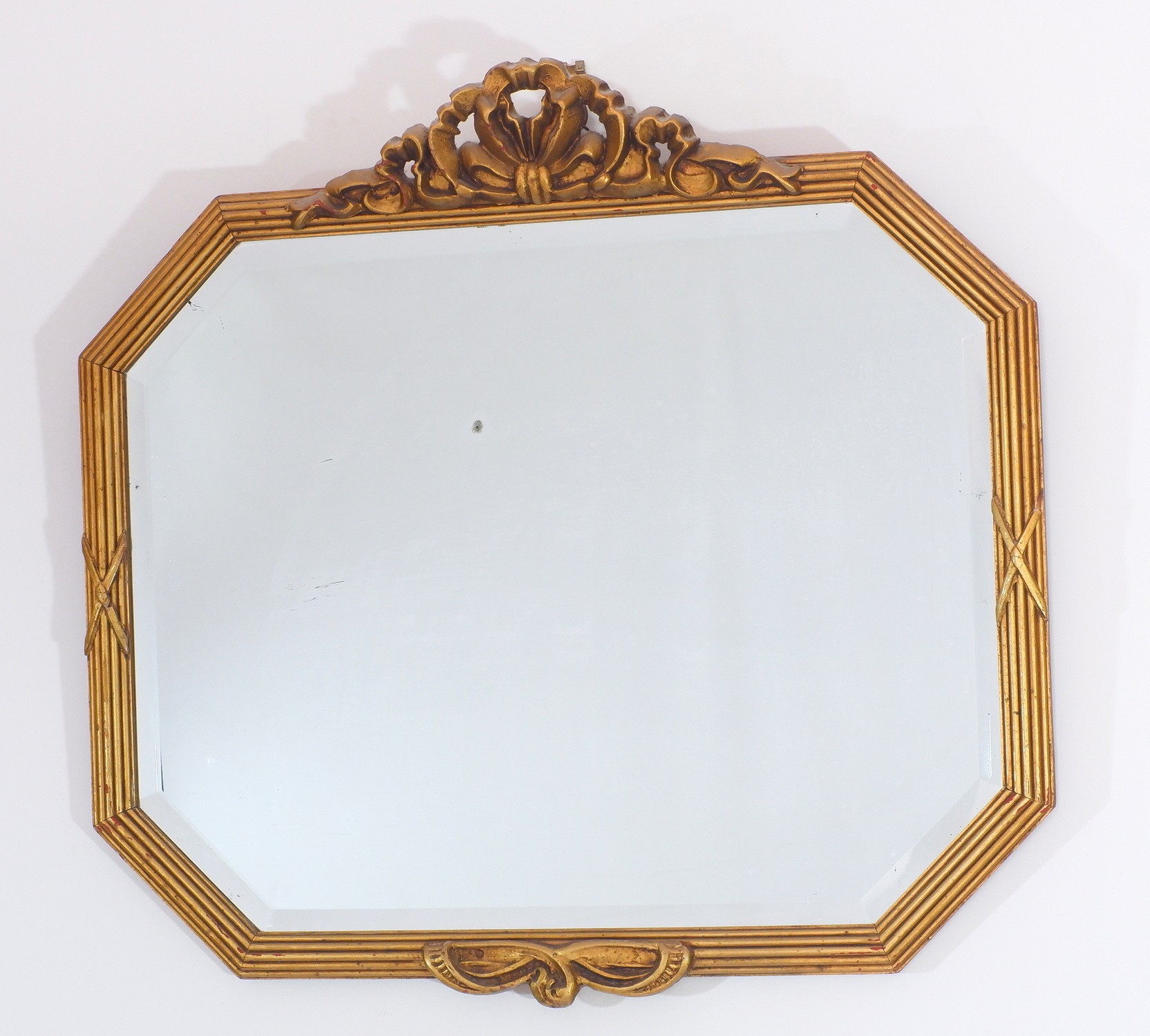 'Vintage Giltwood and Moulded Gesso Bevelled Mirror'