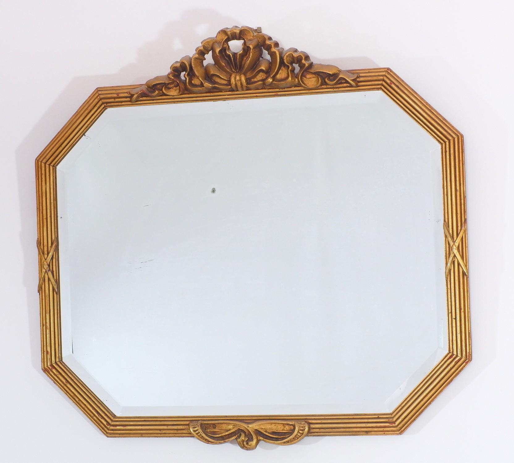 'Vintage Giltwood and Moulded Gesso Bevelled Mirror'