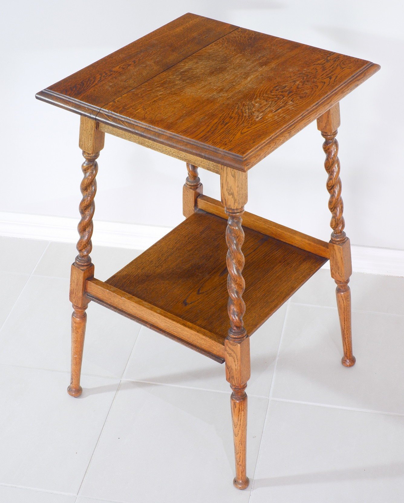 '1920s Oak Occasional Table with Barley Twist Supports'