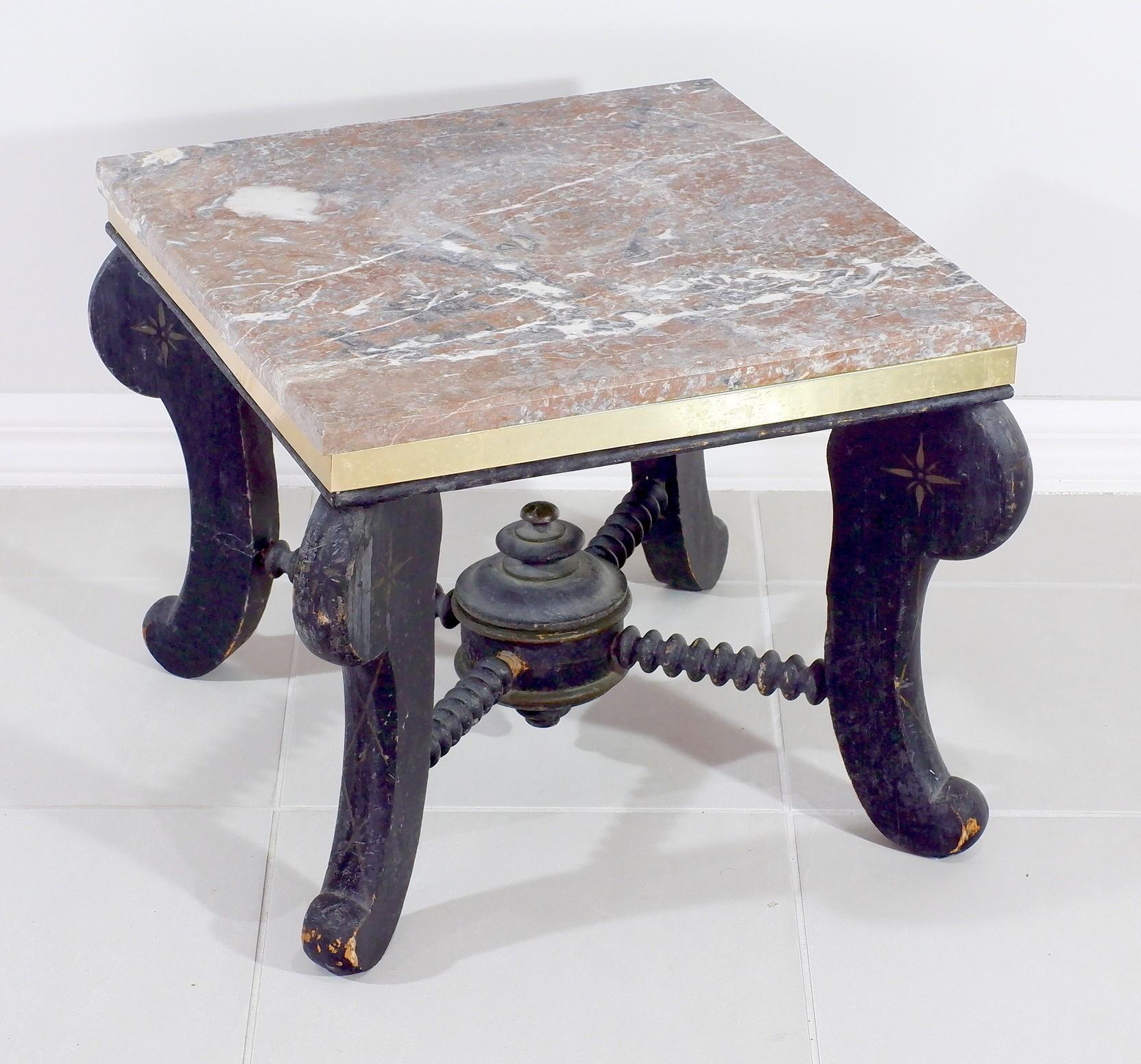 'Victorian Ebonized Stand with Later Adapted Marble Top'