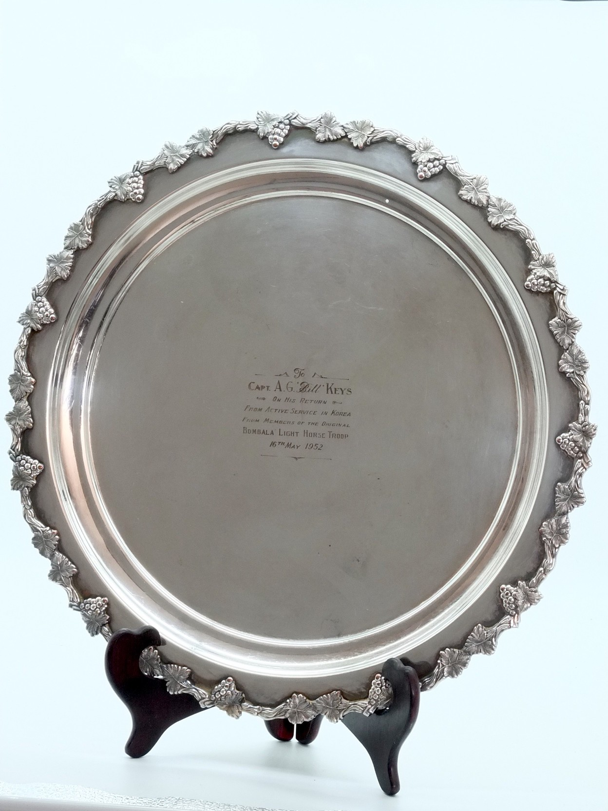 'Two Silver Plate Butlers Trays Presented to Captain A.G Bill Keys 1952 and A.G.W Keys O.B.E, M.C 1978'
