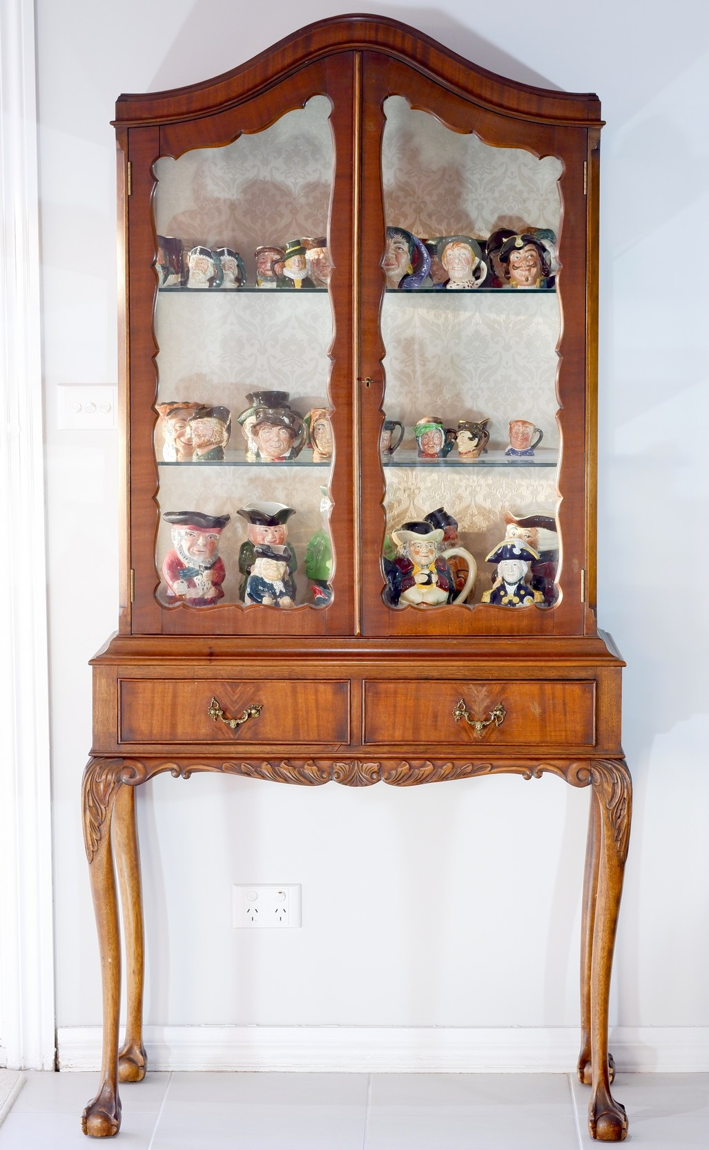 'Vintage Carved Maple and Mahogany Veneer Display Cabinet'
