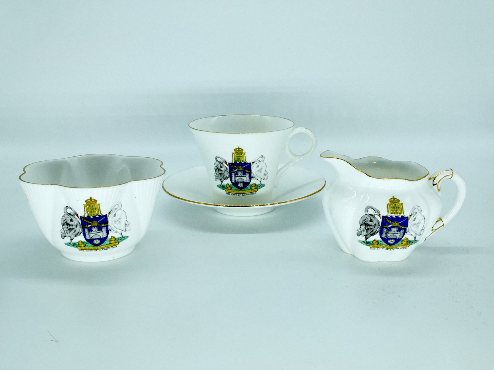 'Three Piece Shelley Tea Setting with Canberra Coat of Arms'