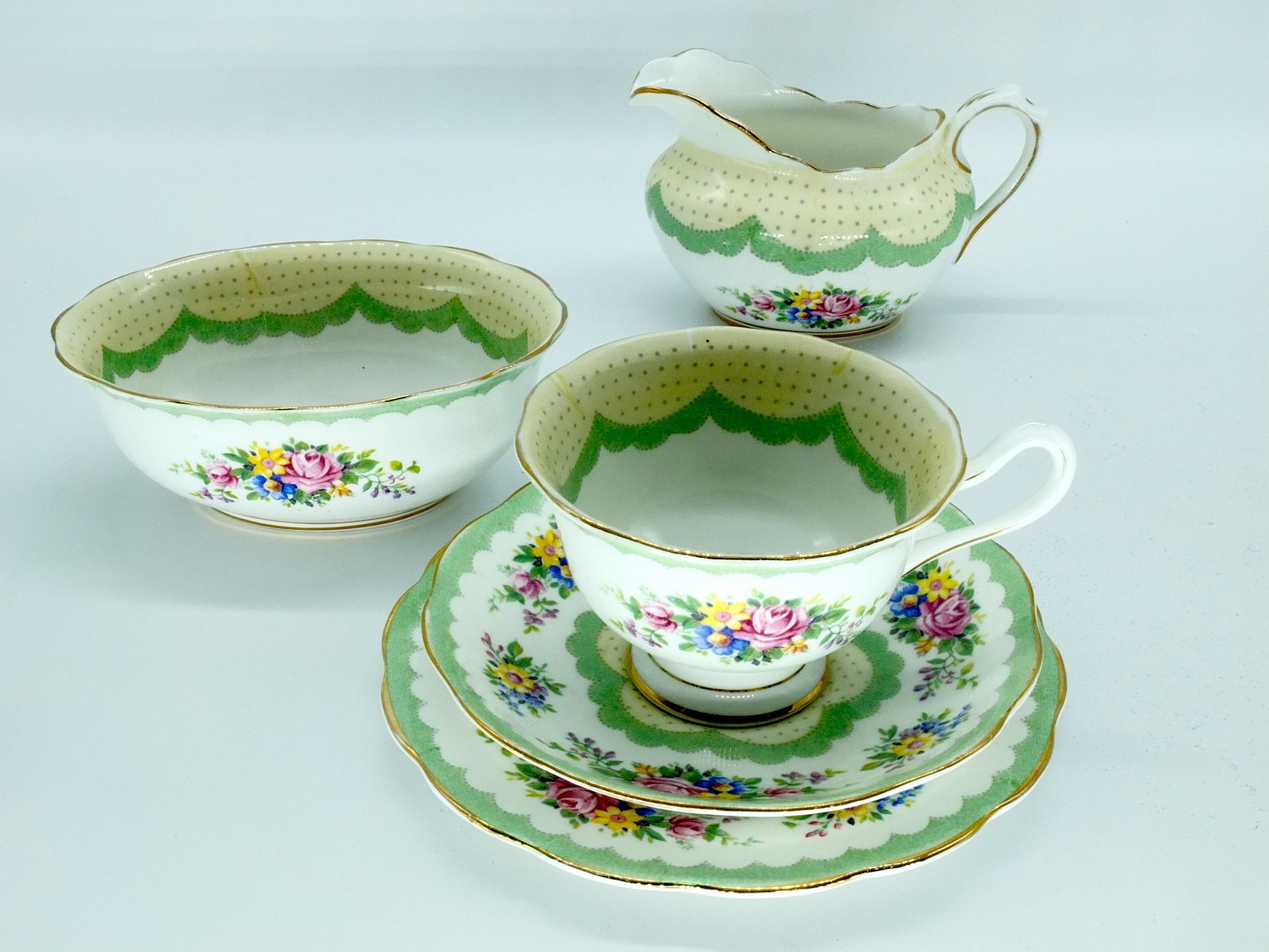 'Royal Albert Prudence Pattern Trio, Creamer Jug and Sugar Bowl'