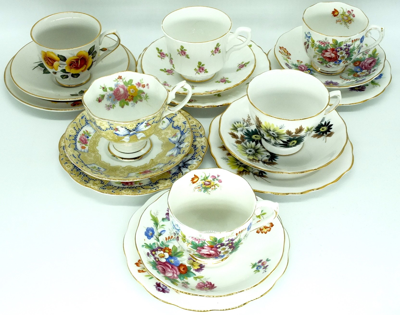 'Group of Six English Tea Trios, Including Roslyn, Old Foley, Royal Stafford, Royal Albert and Royal Vale'