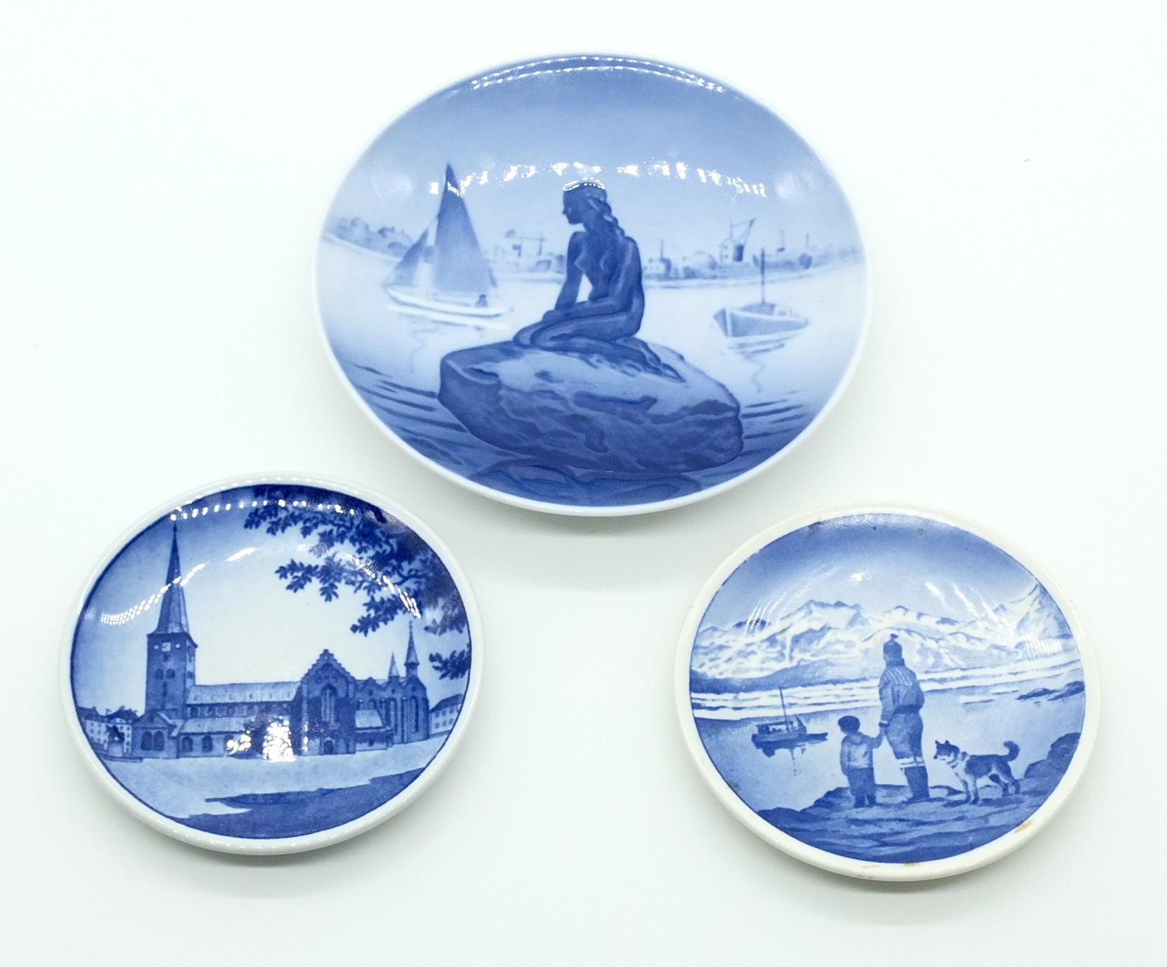 'Royal Copenhagen Langelinie and Arhus Domkirke Dishes and a Alumina Copenhagen Dish'