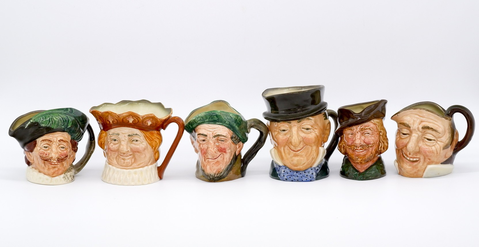 'Collection of Six Royal Doulton Toby Jugs with A Mark'