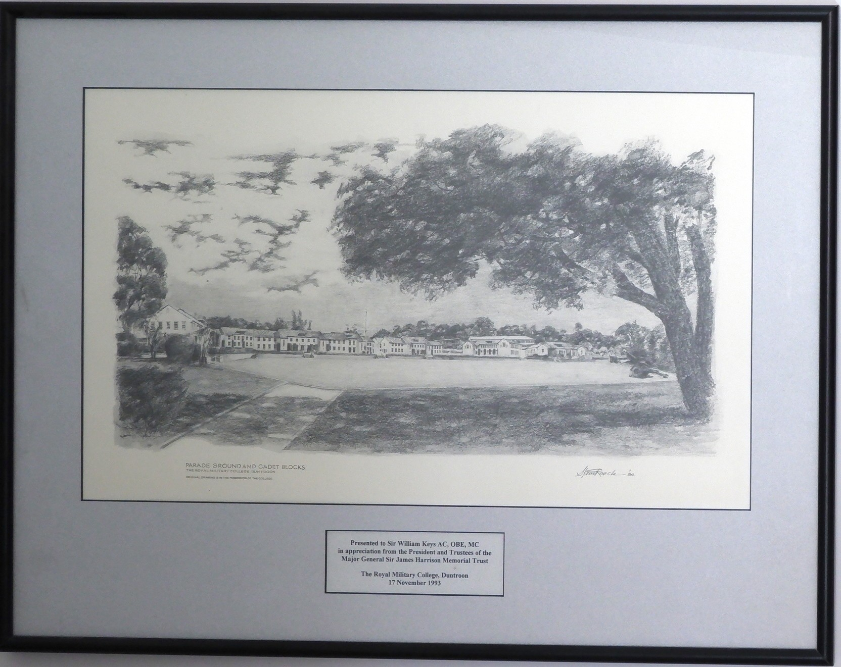 'Printed Parade Ground Duntroon Presented to Sir William Keys'