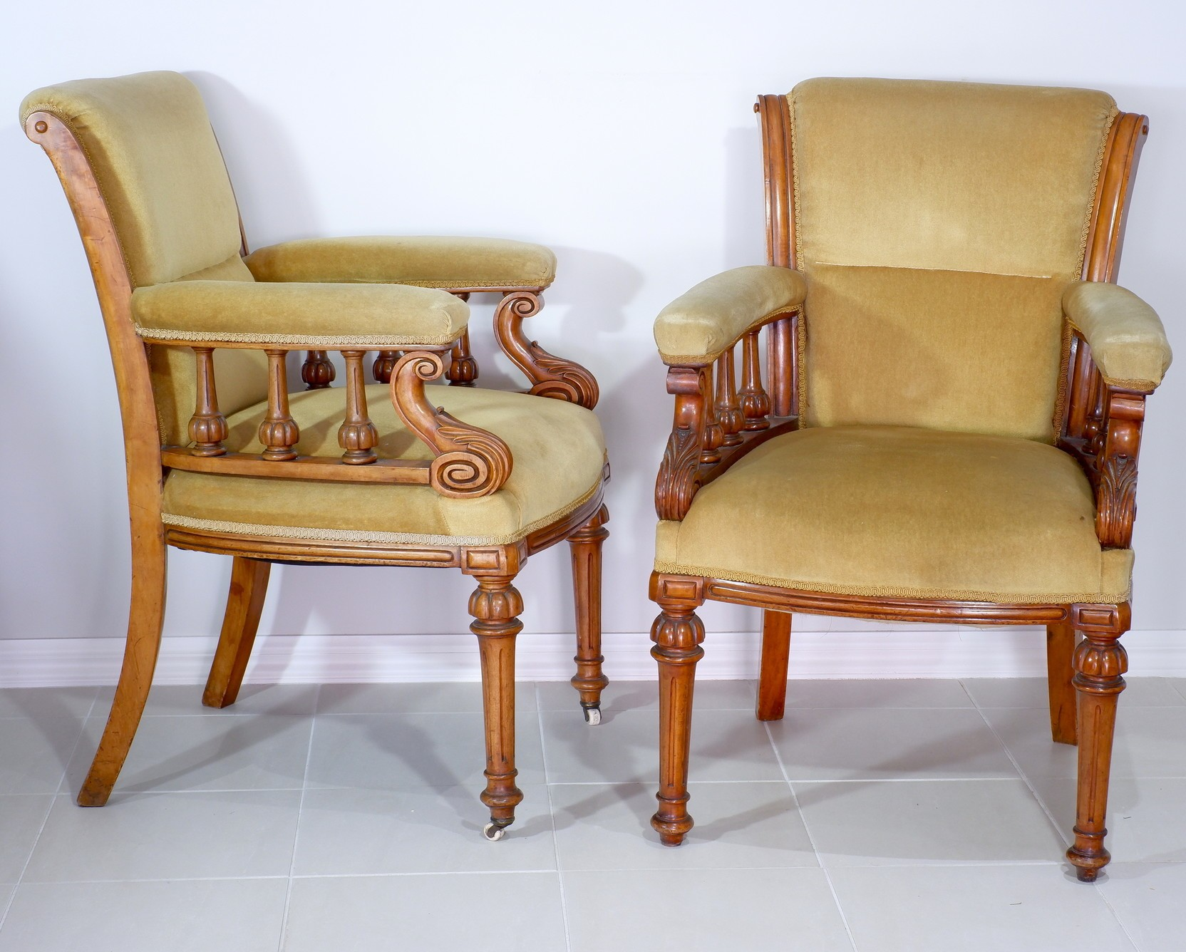 'Pair of Late Victorian Walnut and Olive Green Velvet Upholstered Drawing Room Chairs'
