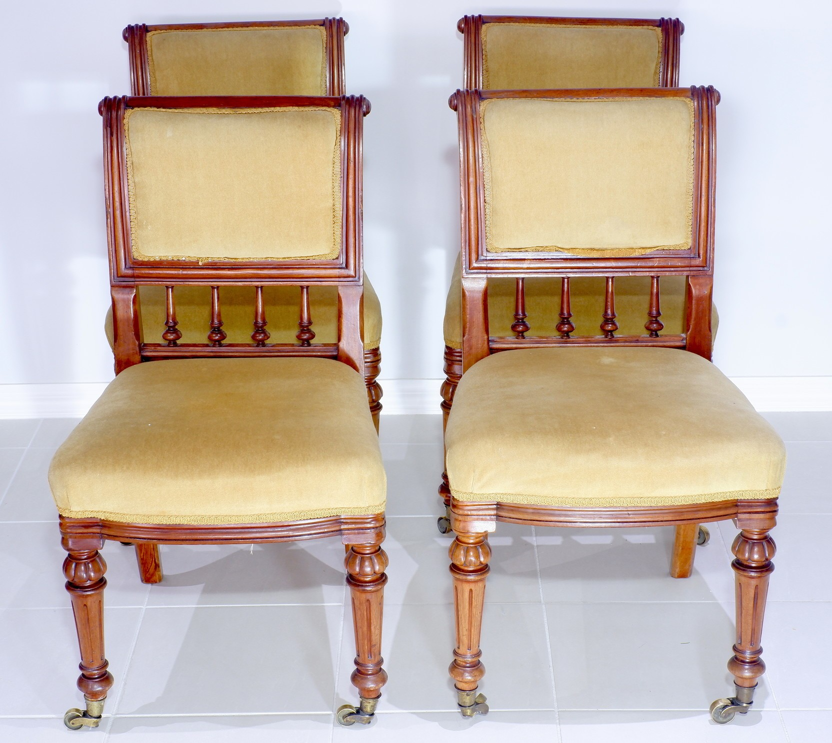 'Four Late Victorian Walnut and Olive Green Velvet Upholstered Drawing Room Chairs'