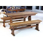 Vintage Maple Refectory Table and Bench Seats