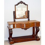 Victorian Mahogany Serpentine Front Dressing Table Circa 1880