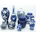 Group of Oriental Blue and White Porcelain Gingers Jars and Vases