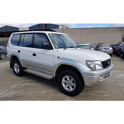 2/2002 Toyota Landcruiser Prado GXL (4x4) VZJ95R 4d Wagon White 3.4L
