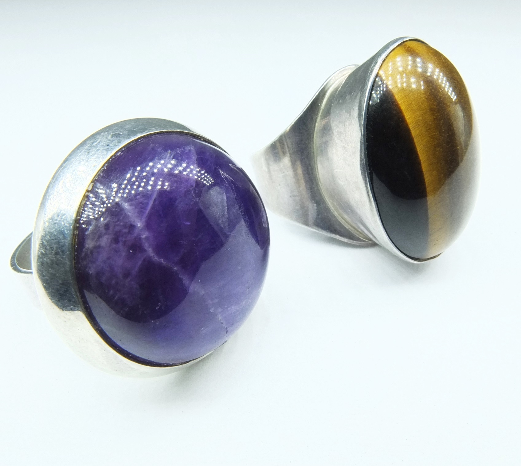 'Sterling Silver and Amethyst Ring, Israeli Sterling Silver and Tiger Eye Ring and a Pewter Bracelet'