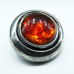 Retro Danish Niels E From Sterling Silver and Amber Brooch
