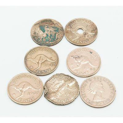 Group of Seven Australian Pennies