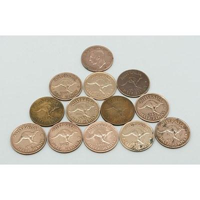 Group of Thirteen Australian Half Pennies