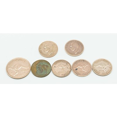 Group of Seven Australian Pennies and Half Pennies Including Years 1942 and 1943