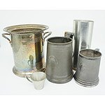 Hecworth Silver Plate Champagne Bucket, Antique Pewter Mugs and More