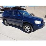1/2004 Toyota Kluger CVX (4x4) MCU28R 4d Wagon Blue 3.3L