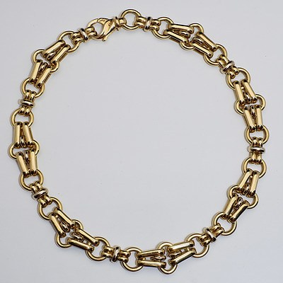 18ct Yellow and White Gold Large Fancy Link Hollow Chain