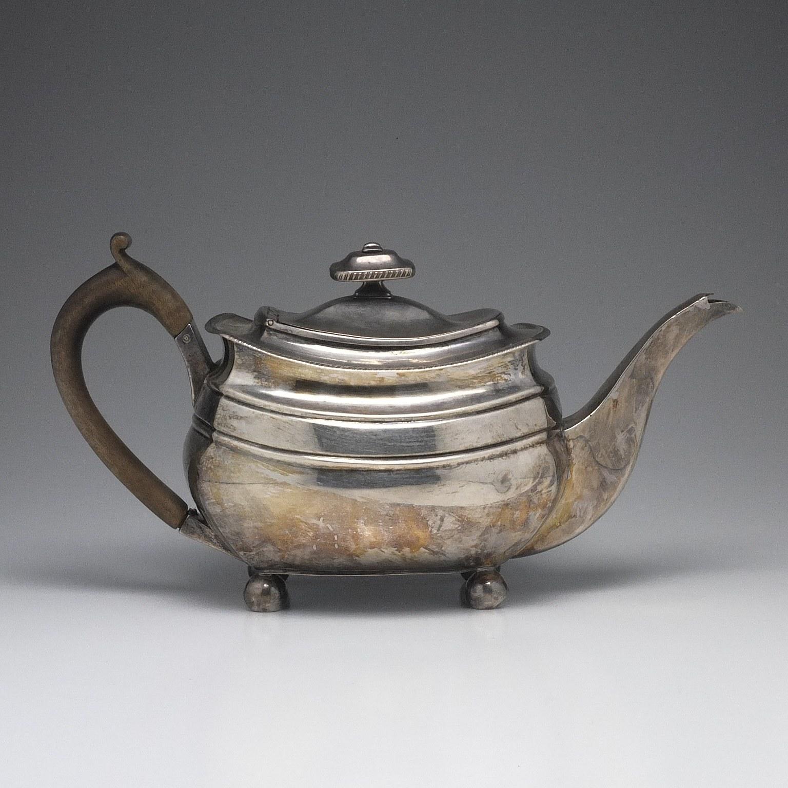 'George III Sterling Silver Teapot Solomon Hougham London 1808'