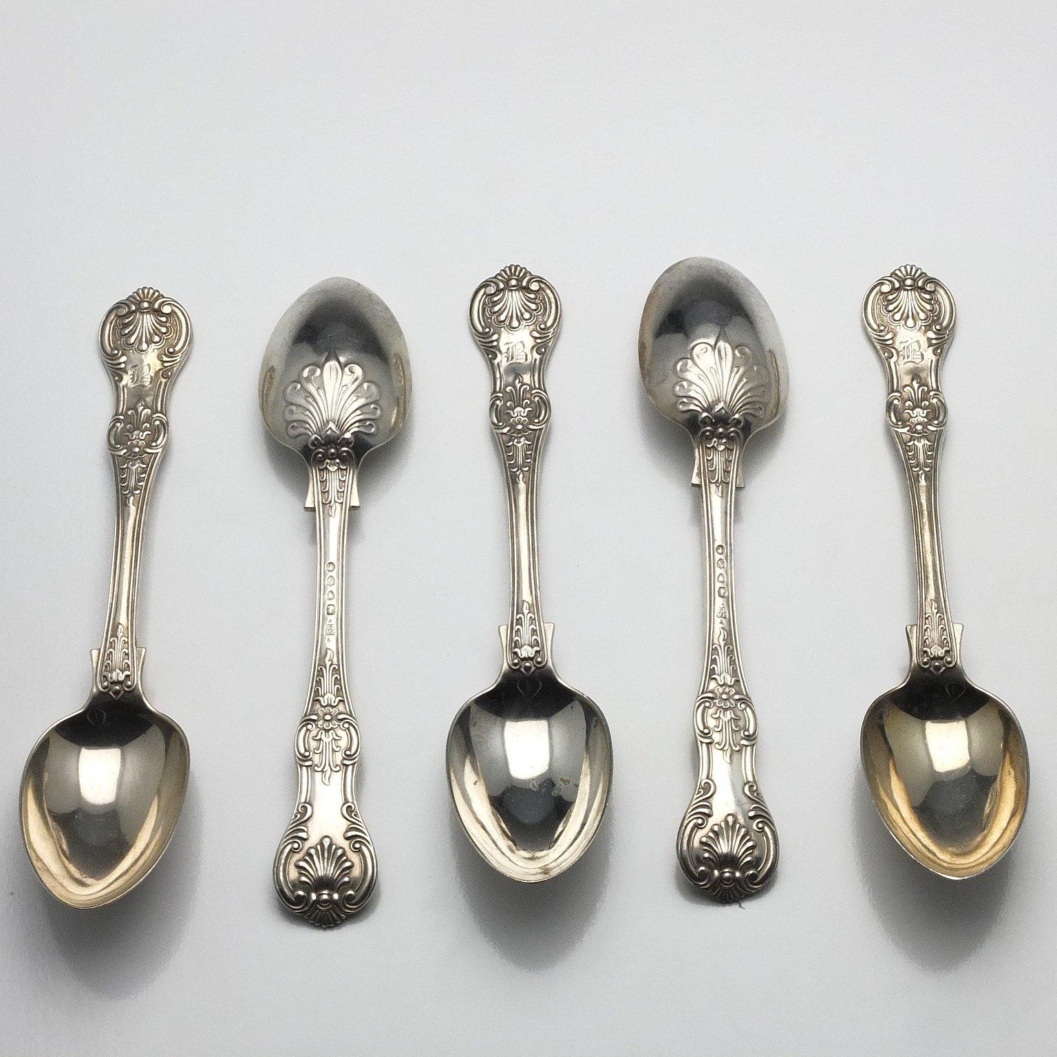 'Five Victorian Monogrammed Sterling Silver Kings Pattern Spoons John Aldwinckle & Thomas Slater London 1888'