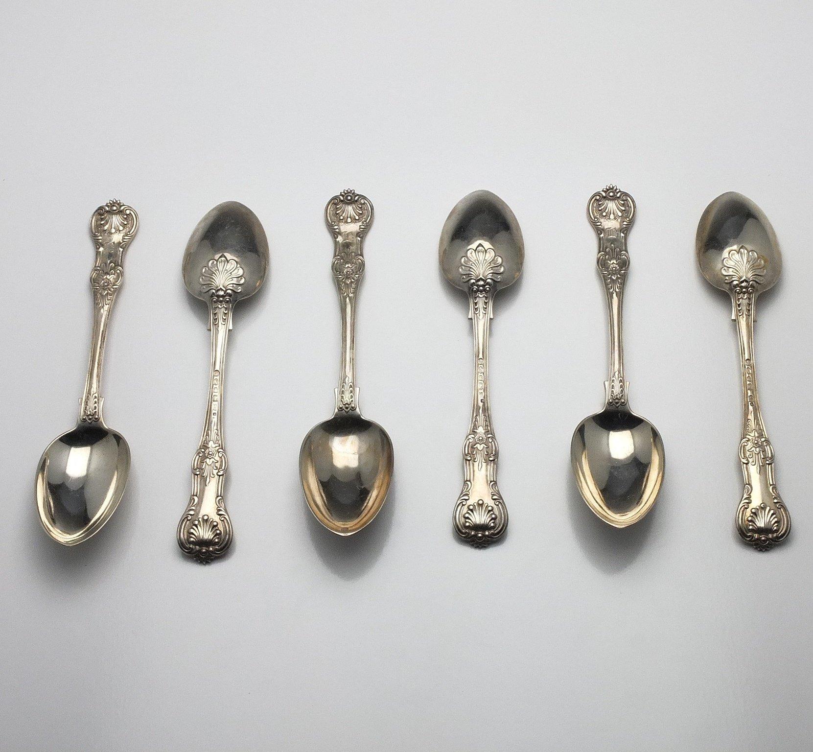 'Six Victorian Monogrammed Sterling Silver Kings Pattern Table Spoons John Aldwinckle & Thomas Slater London 1888'