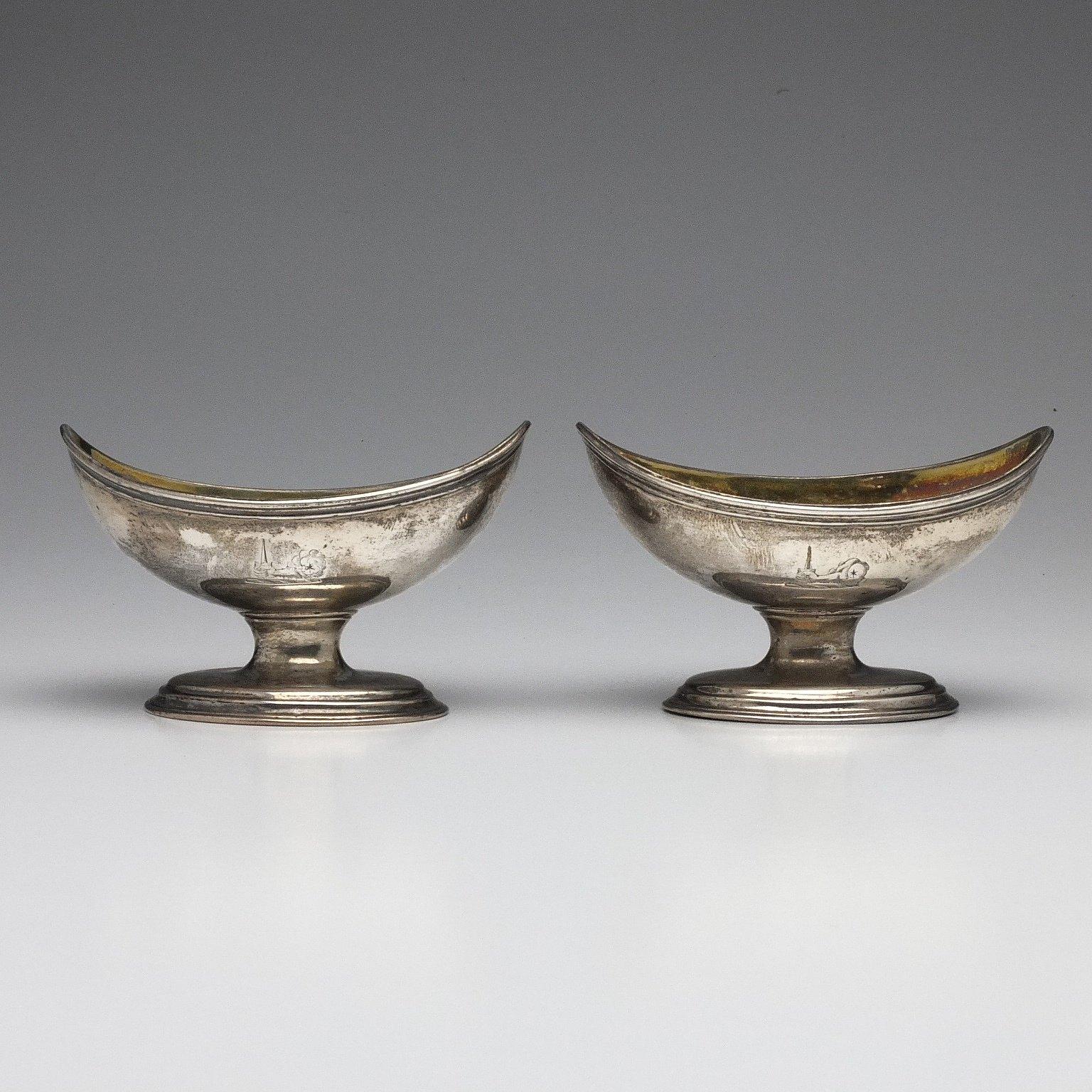 'Pair of George III Crested Sterling Silver Open Salts Joseph Wyatt London 1791'
