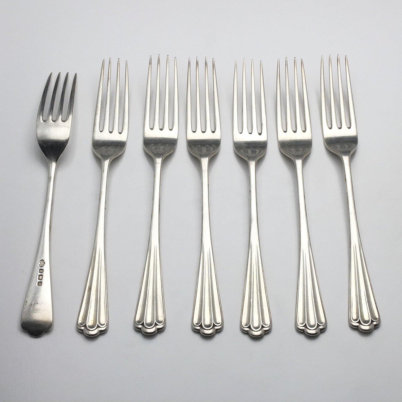 'Seven Edwardian Sterling Silver Mains Forks Elkington & Co Ltd Birmingham 1909'