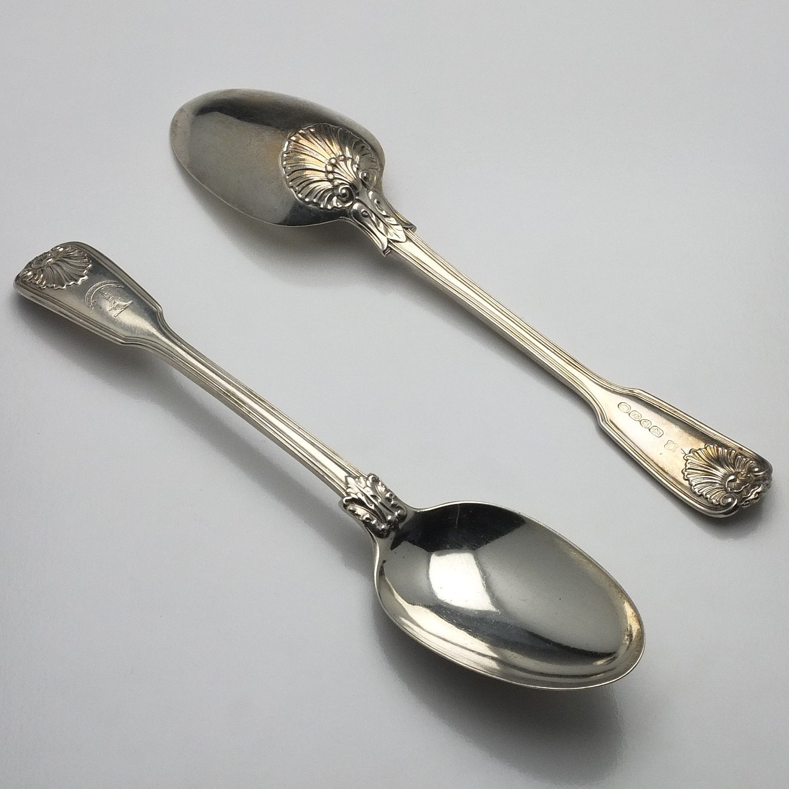 'Pair of Victorian Crested Sterling Silver Table Spoons Mary Chawner & George W Adams London 1838'