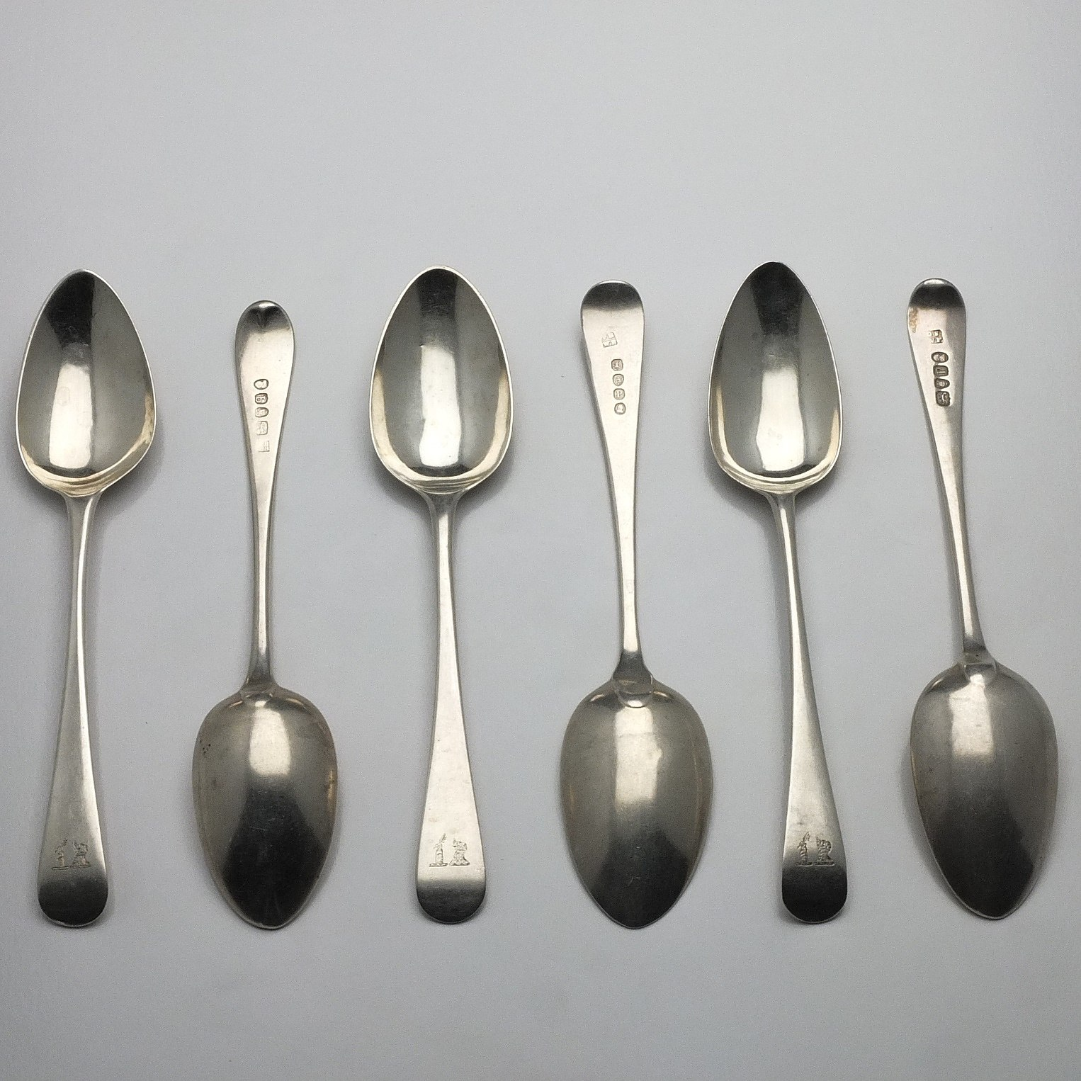 'Six George III Crested Sterling Silver Spoons Including Two George Smith III & William Fearn London 1790'