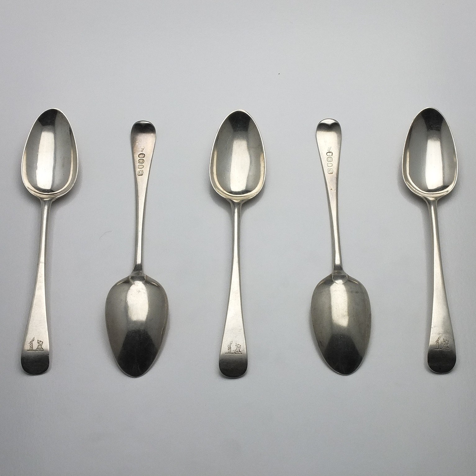 'Five George III Crested Sterling Silver Spoons Richard Crossley London 1809'