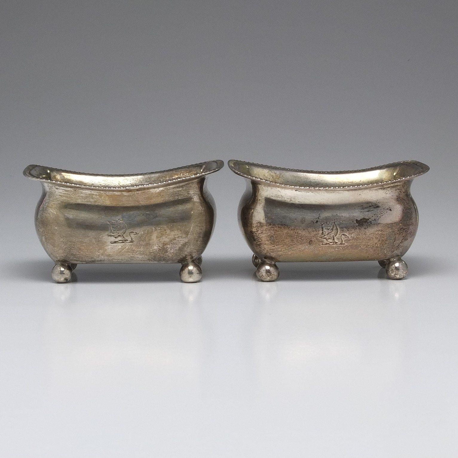 'Pair George III Crested Sterling Silver Open Salts Alice & George Burrows II London 1806'