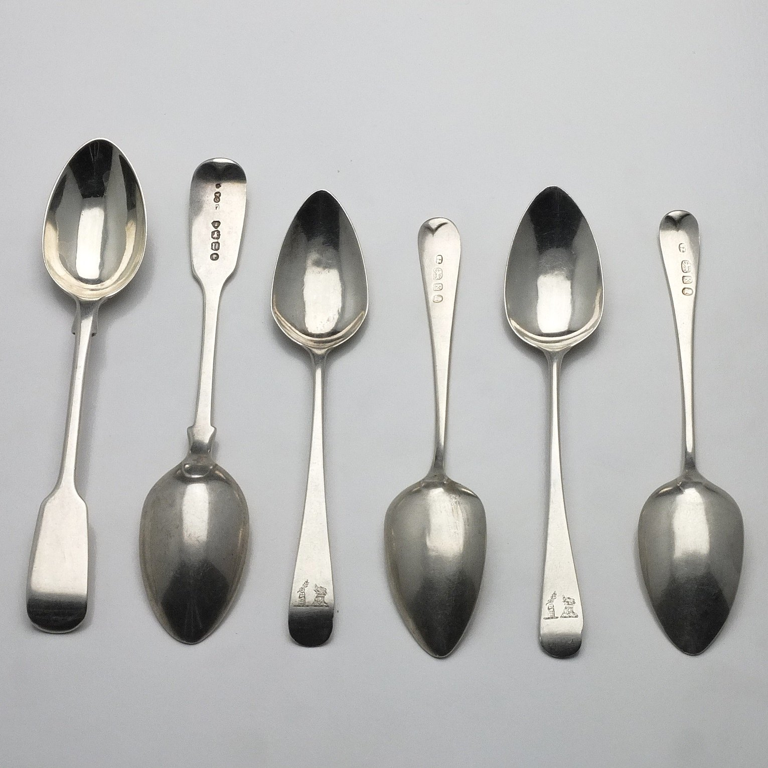 'Six Sterling Silver Teaspoons, Including Two Chawner & Co London 1875'