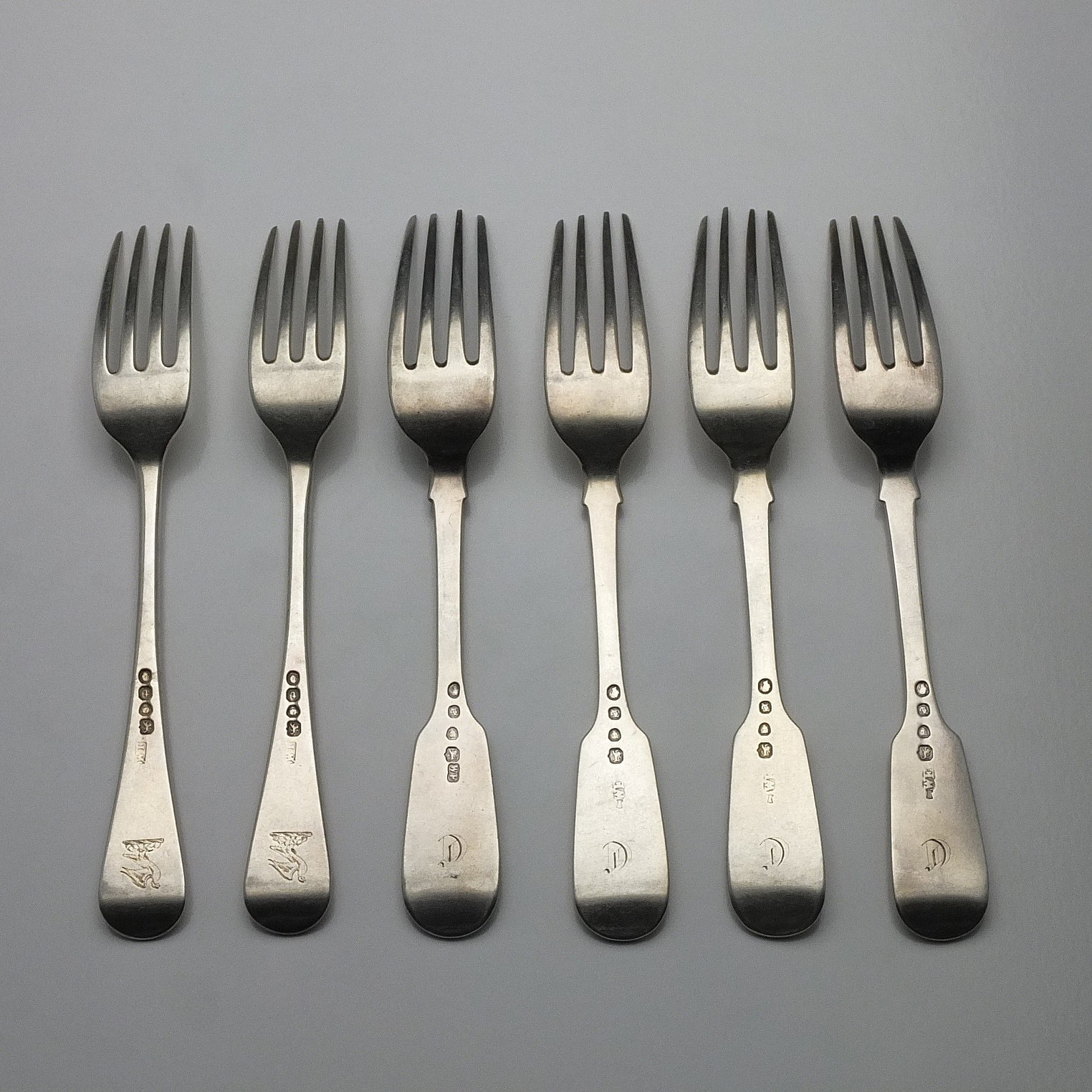 'Six Sterling Silver Entree Forks Sterling Silver William Eaton London 1843'