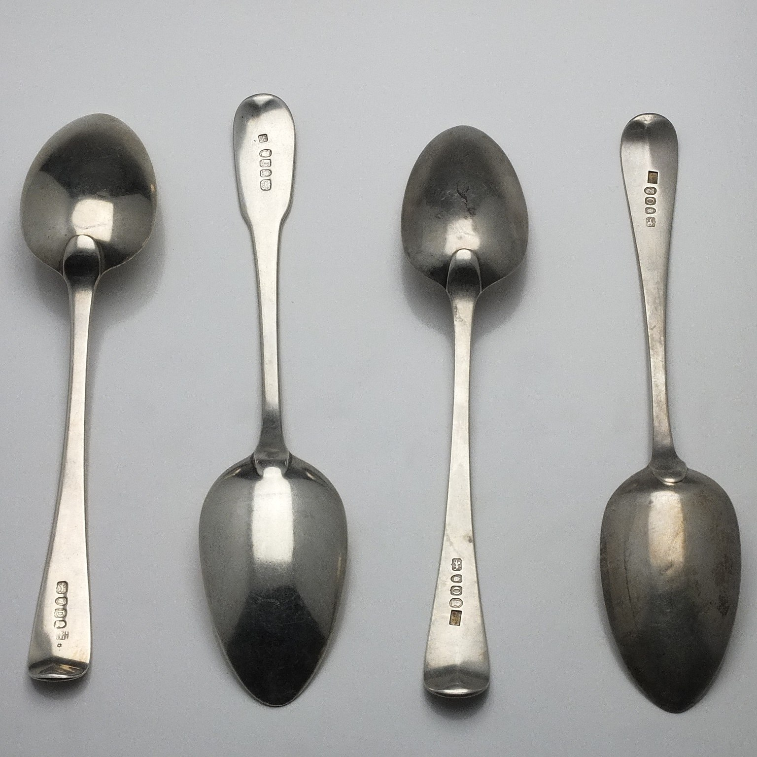 'Four Sterling Silver Table Spoons London 1799, 1801, 1809 and 1809'