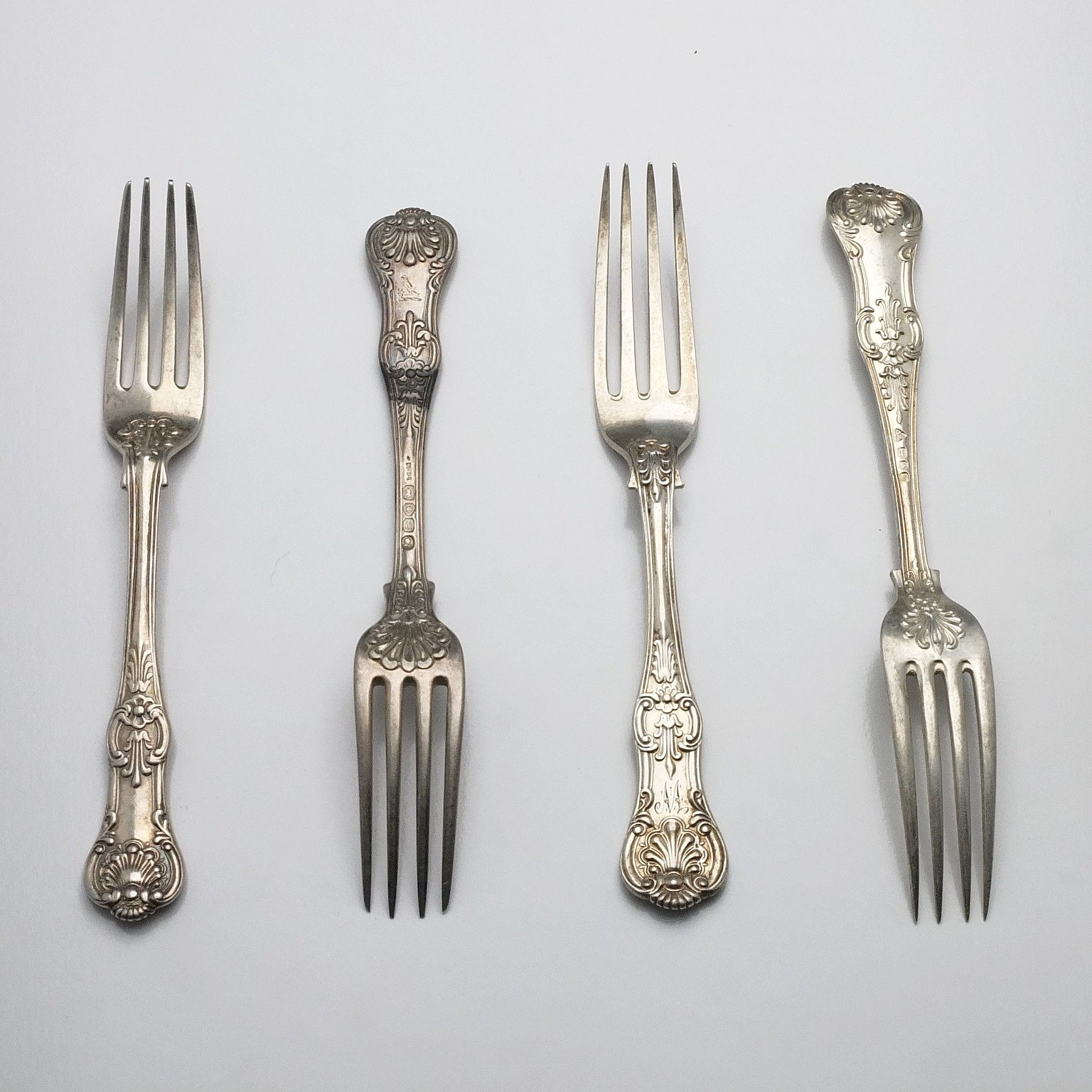 'Four Sterling Silver Kings Pattern Entree Forks 1828, 1856, 1904 ,1964'