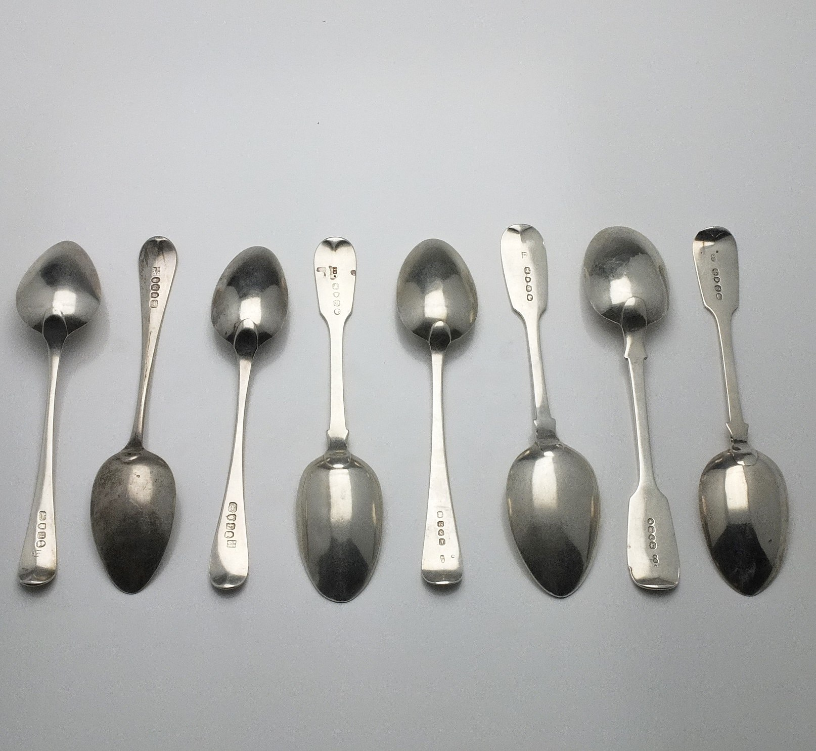 'Eight Various Sterling Silver Spoons, Including London 1855, 1863, 1851, 1807, 1803, 1801, 1799, 1844'