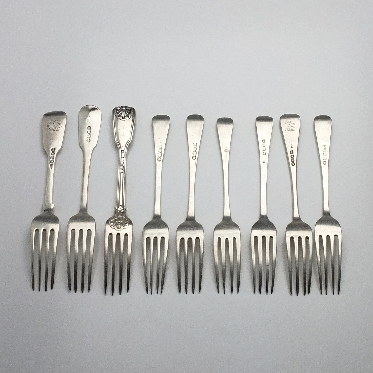 'Nine Various Georgian and Victorian Sterling Silver Entree Forks, Including London 1828, 1823, 1821, 1816, 1838, 1794 and More'