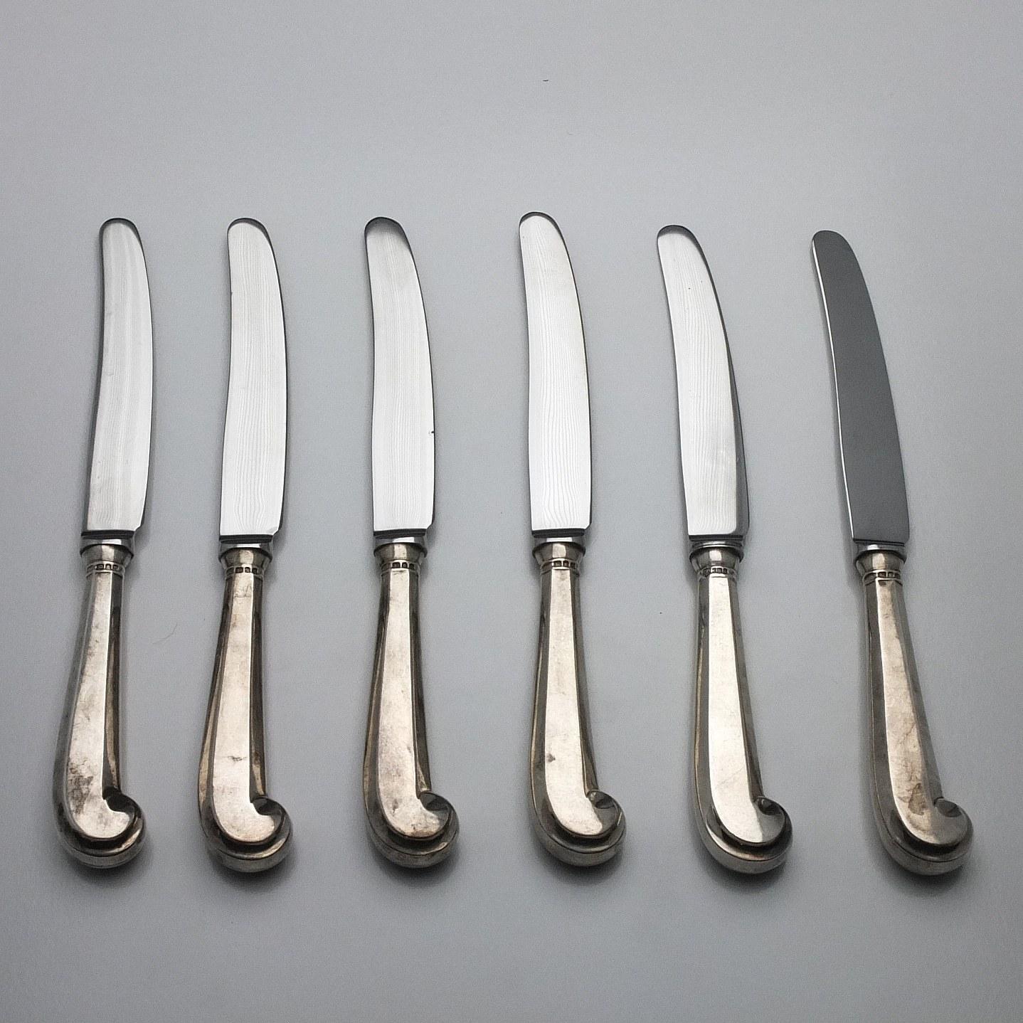 'Six Sterling Silver Handled Entree Knives, Including C J Vander Ltd Sheffield 1972'