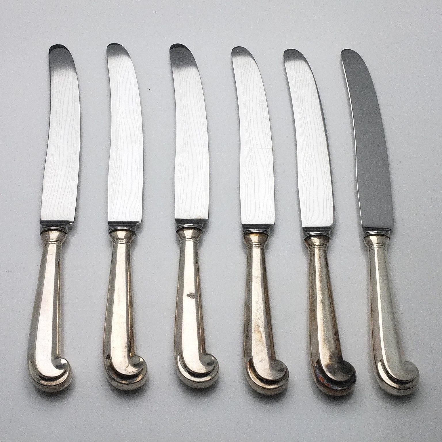 'Six Sterling Silver Handled Mains Knives C J Vander Ltd Sheffield'