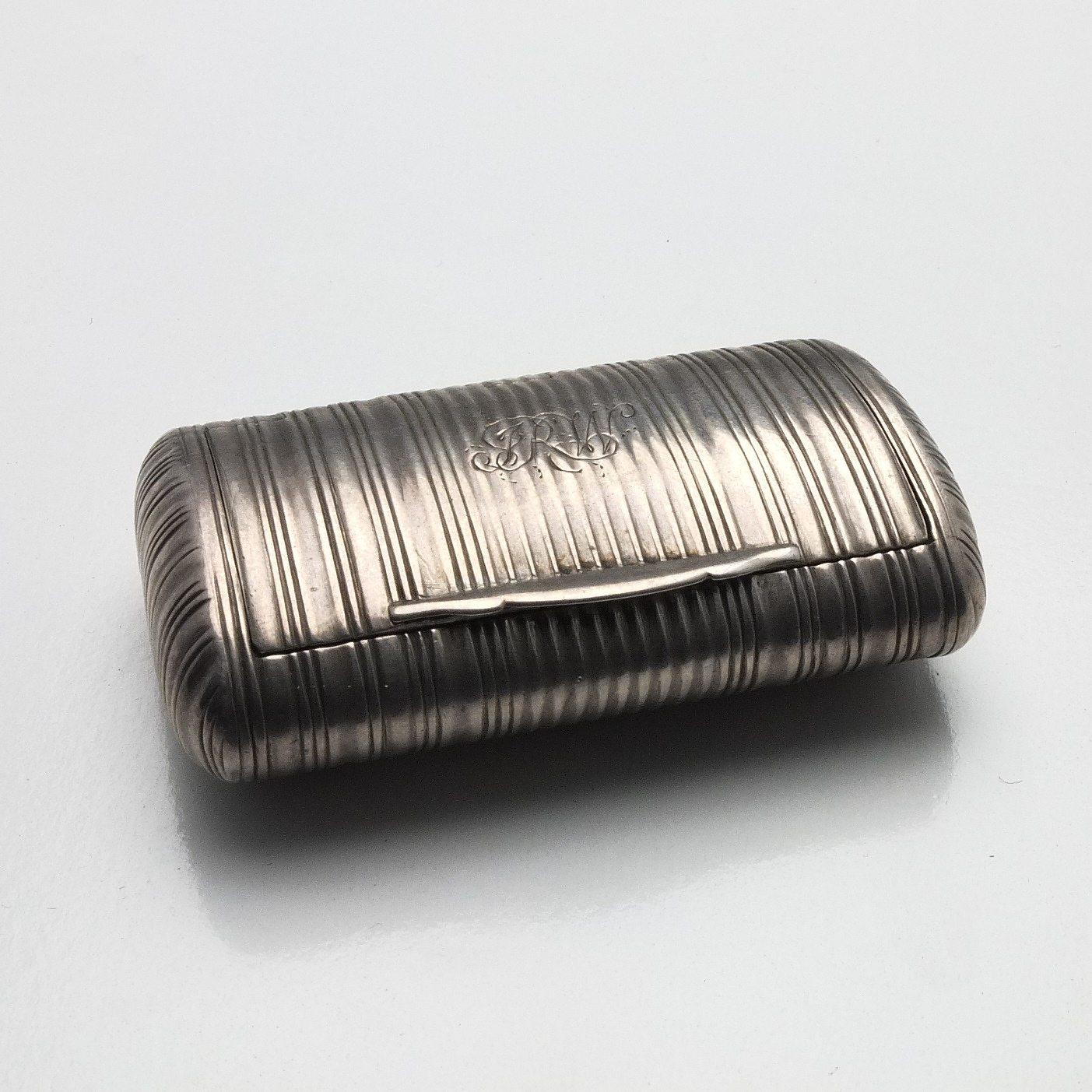 'George III Monogrammed Sterling Silver Snuff Box John Shaw Birmingham 1812'