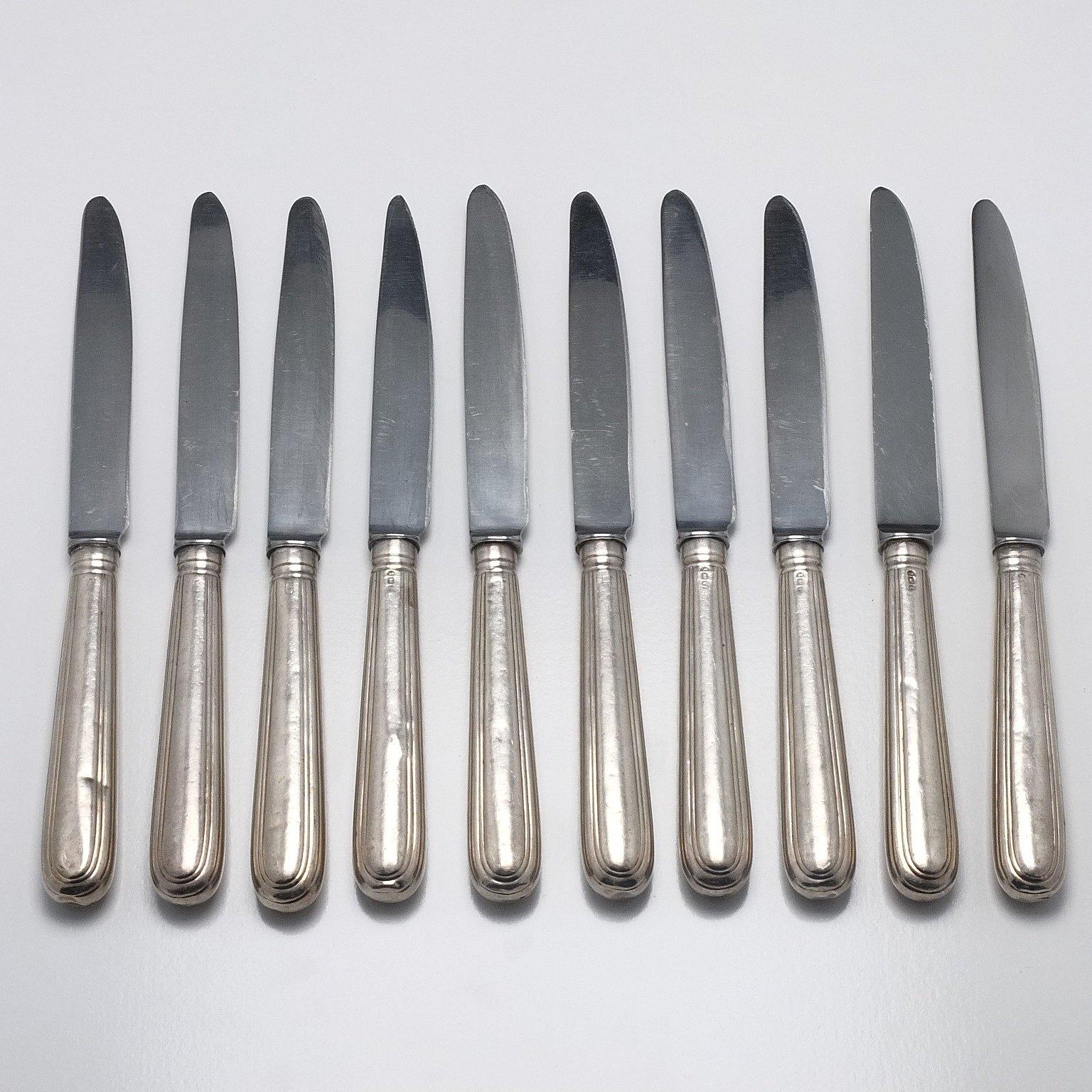 'Ten Georgian Sterling Silver Handled Entree Knives'