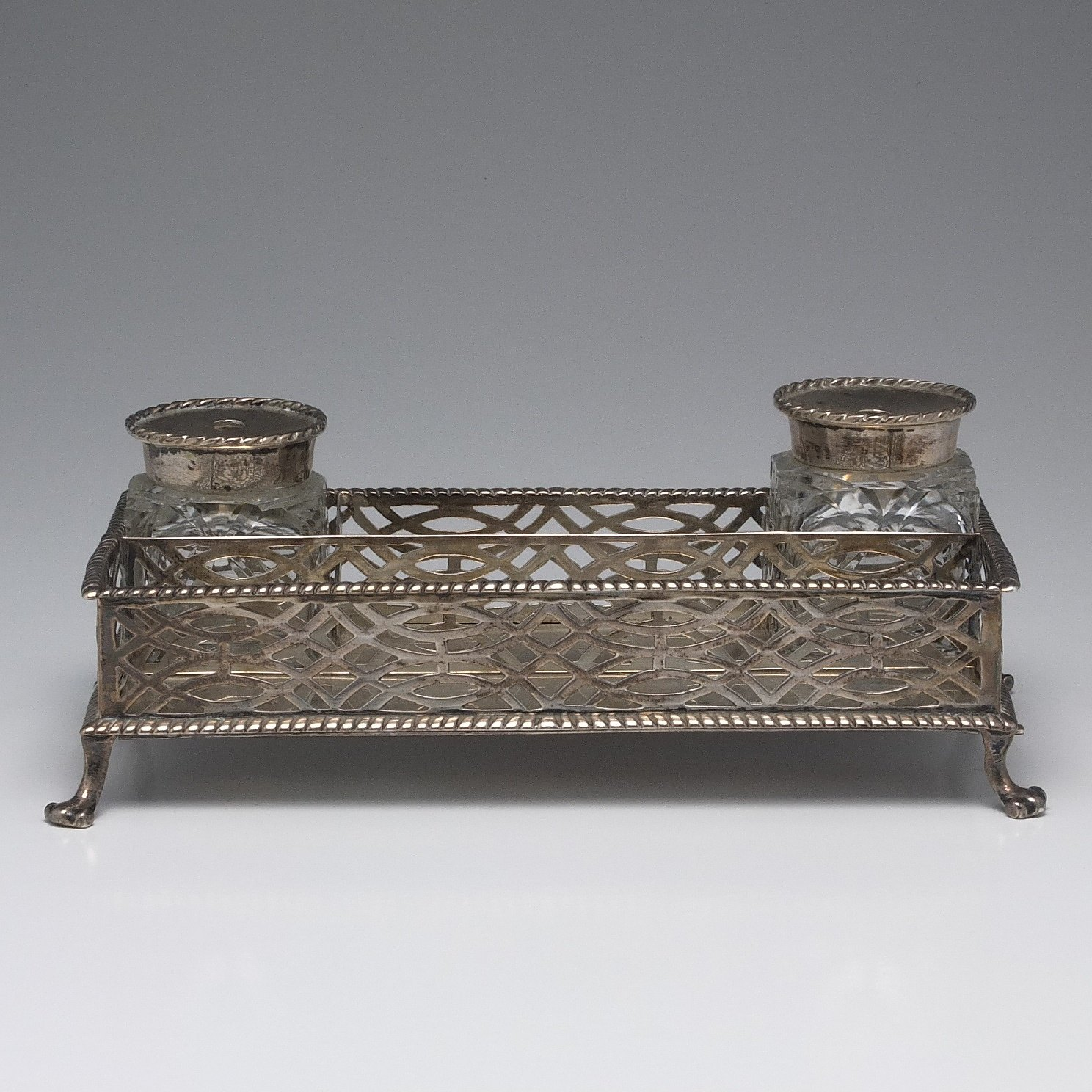 'George II Sterling Silver Pierced Desk Set with Lion Paw Feet and Cut Crystal Inkwells London 1759'