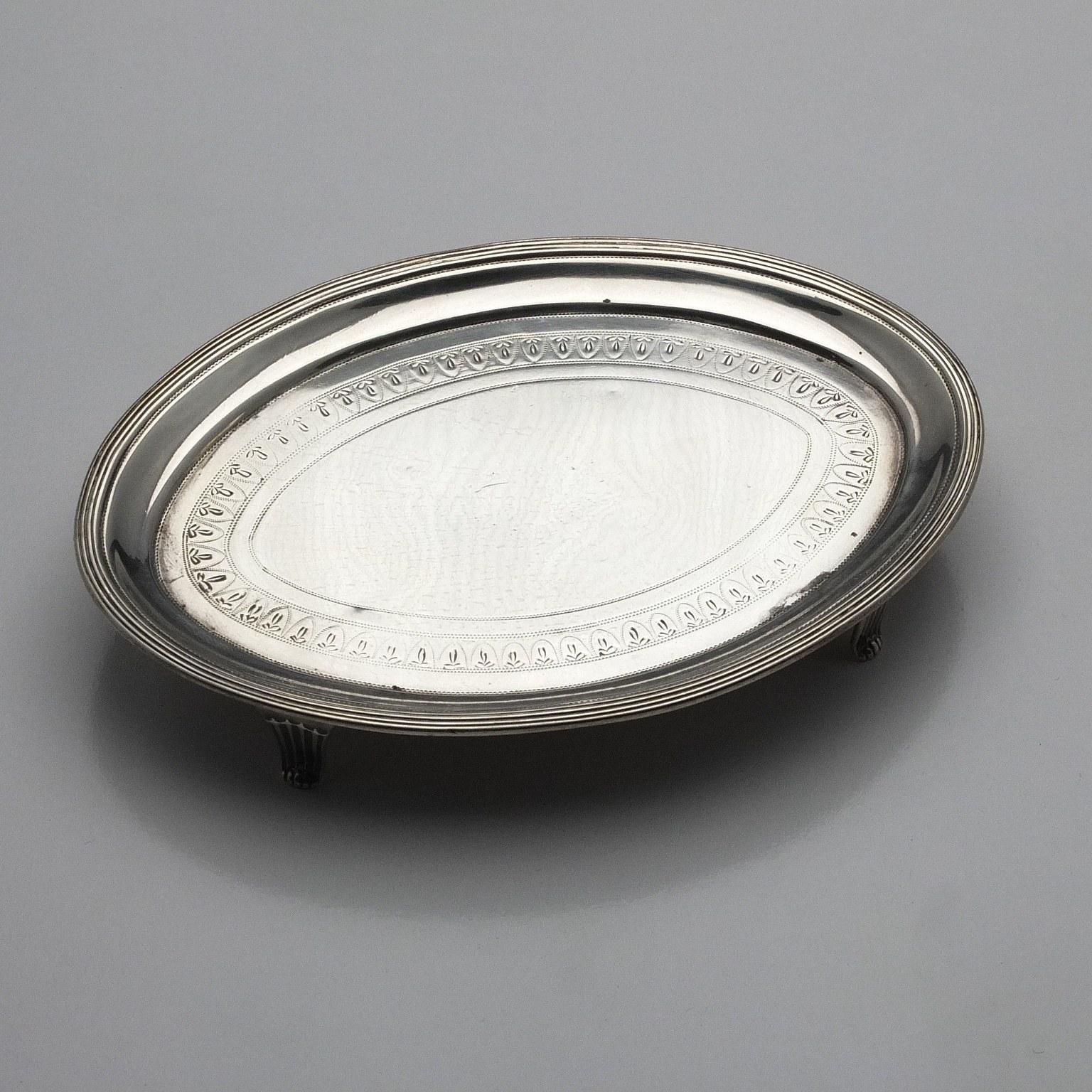 'George III Sterling Silver Bright Cut Trivet Peter, Ann & William Bateman London 1801'