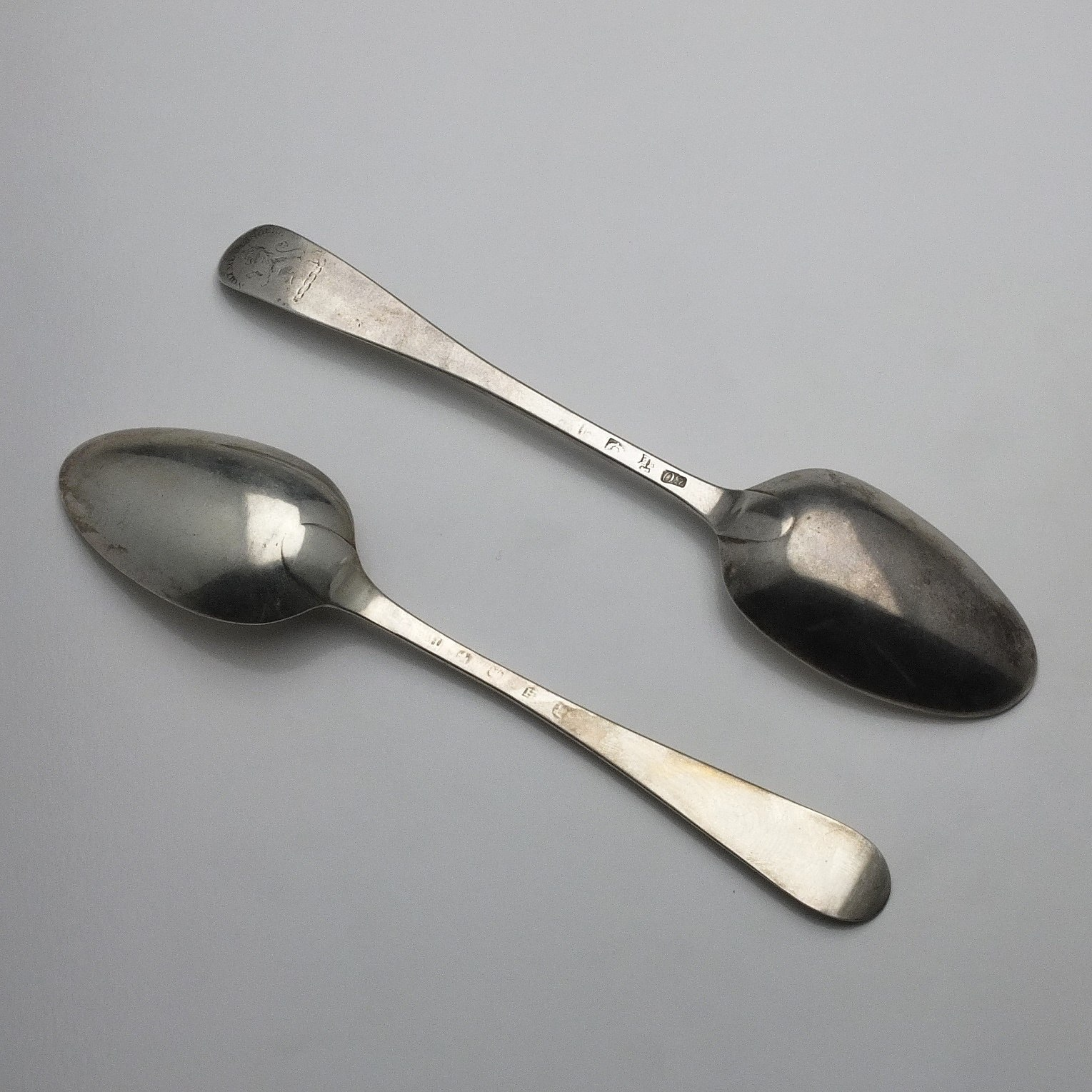 'Two Scottish Sterling Silver Table Spoons Edinburgh 1788 and Another'